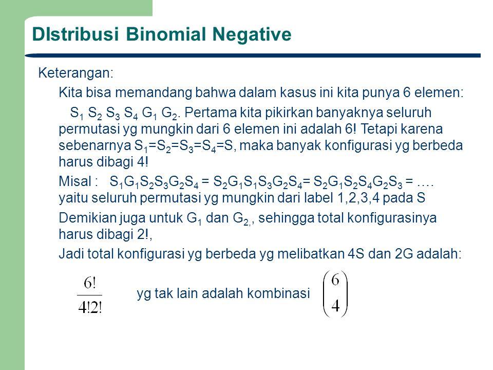 DIstribusi Binomial Negative Keterangan: Kita bisa memandang bahwa dalam kasus ini kita punya 6 elemen: S 1 S 2 S 3 S 4 G 1 G 2. Pertama kita pikirkan