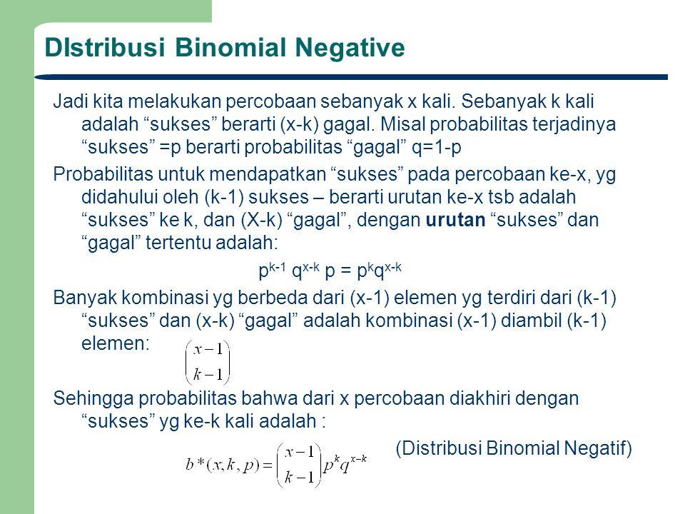 """DIstribusi Binomial Negative Jadi kita melakukan percobaan sebanyak x kali. Sebanyak k kali adalah """"sukses"""" berarti (x-k) gagal. Misal probabilitas te"""