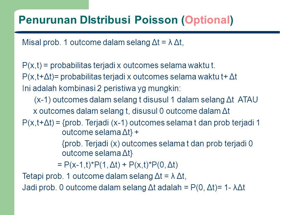 Penurunan DIstribusi Poisson (Optional) Misal prob. 1 outcome dalam selang Δt = λ Δt, P(x,t) = probabilitas terjadi x outcomes selama waktu t. P(x,t+Δ