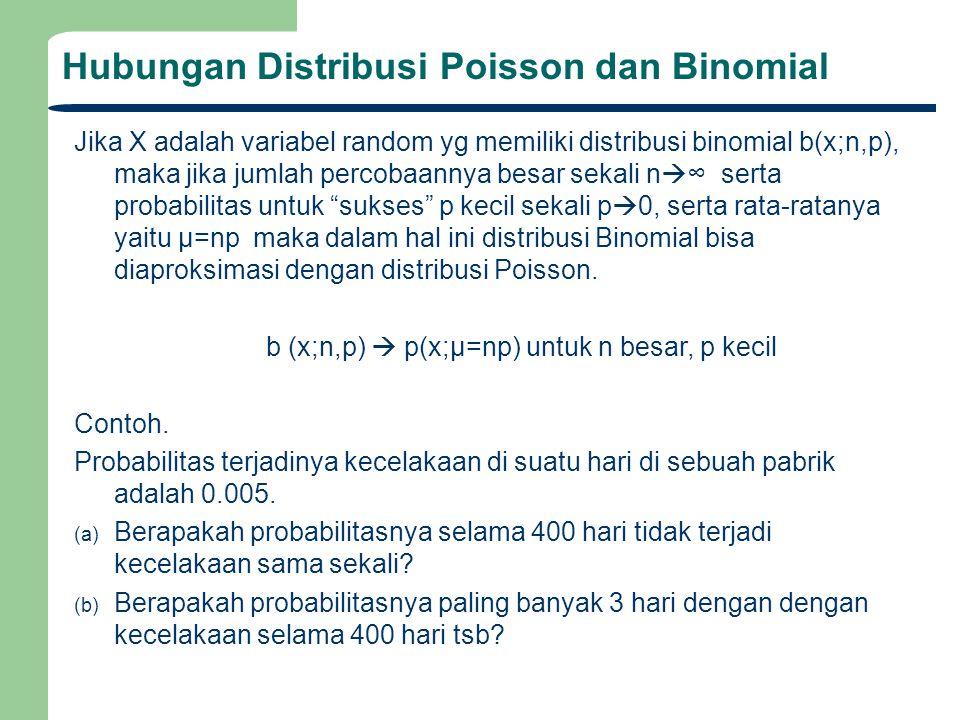 Hubungan Distribusi Poisson dan Binomial Jika X adalah variabel random yg memiliki distribusi binomial b(x;n,p), maka jika jumlah percobaannya besar sekali n  ∞ serta probabilitas untuk sukses p kecil sekali p  0, serta rata-ratanya yaitu μ=np maka dalam hal ini distribusi Binomial bisa diaproksimasi dengan distribusi Poisson.