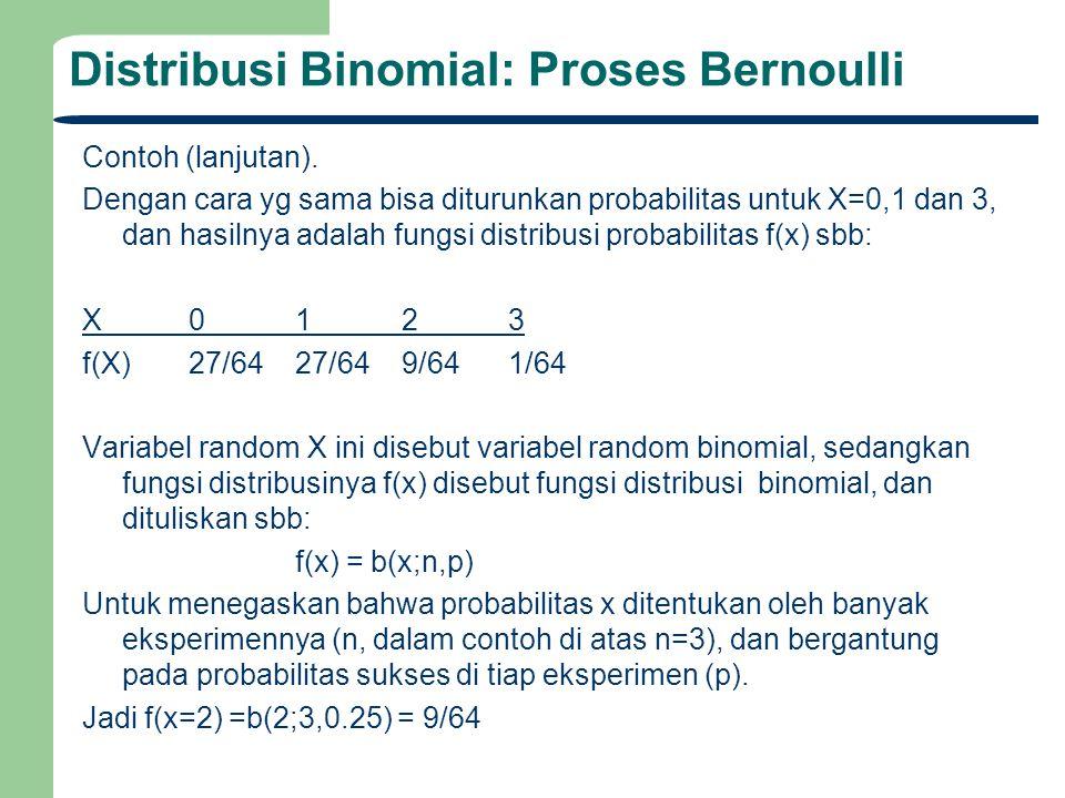 Distribusi Binomial: Proses Bernoulli Contoh (lanjutan). Dengan cara yg sama bisa diturunkan probabilitas untuk X=0,1 dan 3, dan hasilnya adalah fungs