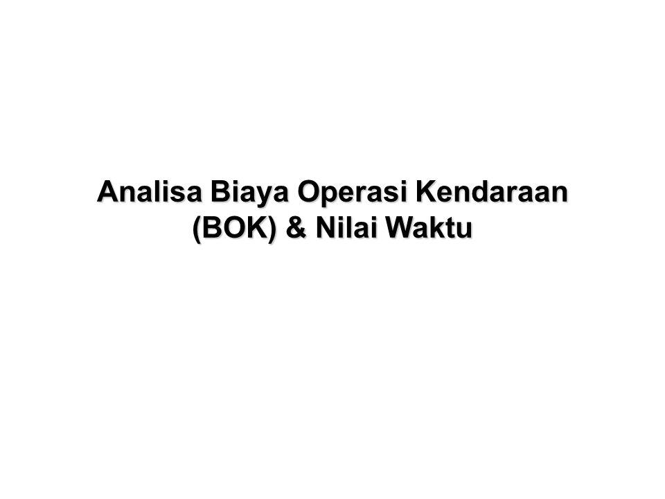 Konsumsi Bahan Bakar (KBB) •KBB = KKB dasar x (1 ± (k k + k l + k r ) •KBB dasar kendaraan golongan I = 0,0284V 2 - 3,0644V + 141,68 •KBB dasar kendaraan golongan IIA = 2,26533 x (KBB dasar kend.