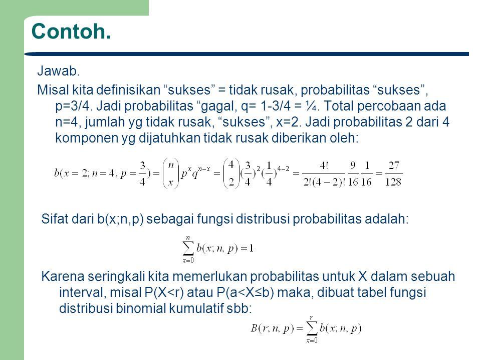 Contoh.Jawab. Misal kita definisikan sukses = tidak rusak, probabilitas sukses , p=3/4.