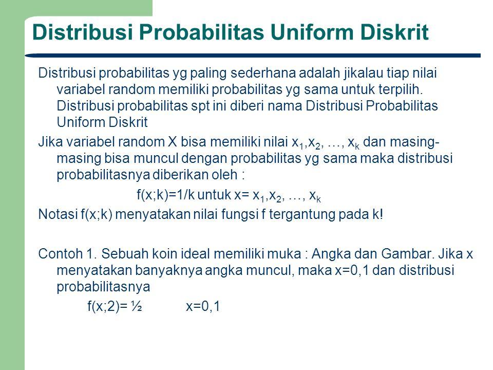Distribusi Probabilitas Uniform Diskrit Distribusi probabilitas yg paling sederhana adalah jikalau tiap nilai variabel random memiliki probabilitas yg sama untuk terpilih.