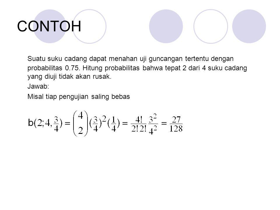CONTOH Suatu suku cadang dapat menahan uji guncangan tertentu dengan probabilitas 0.75.