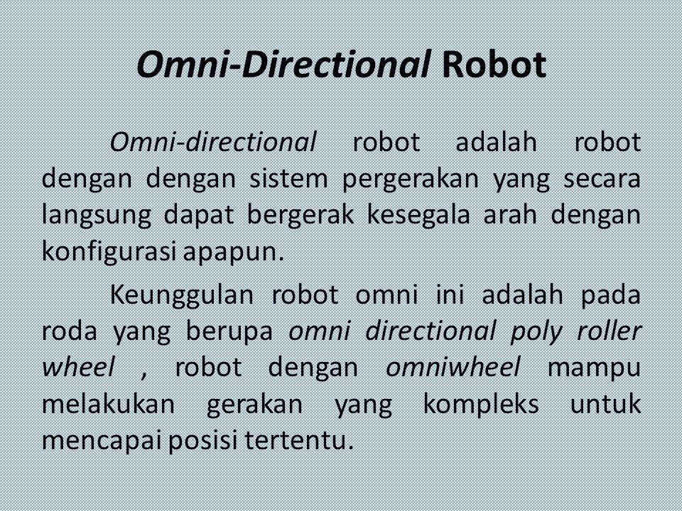 Omni-Directional Robot Omni-directional robot adalah robot dengan dengan sistem pergerakan yang secara langsung dapat bergerak kesegala arah dengan ko