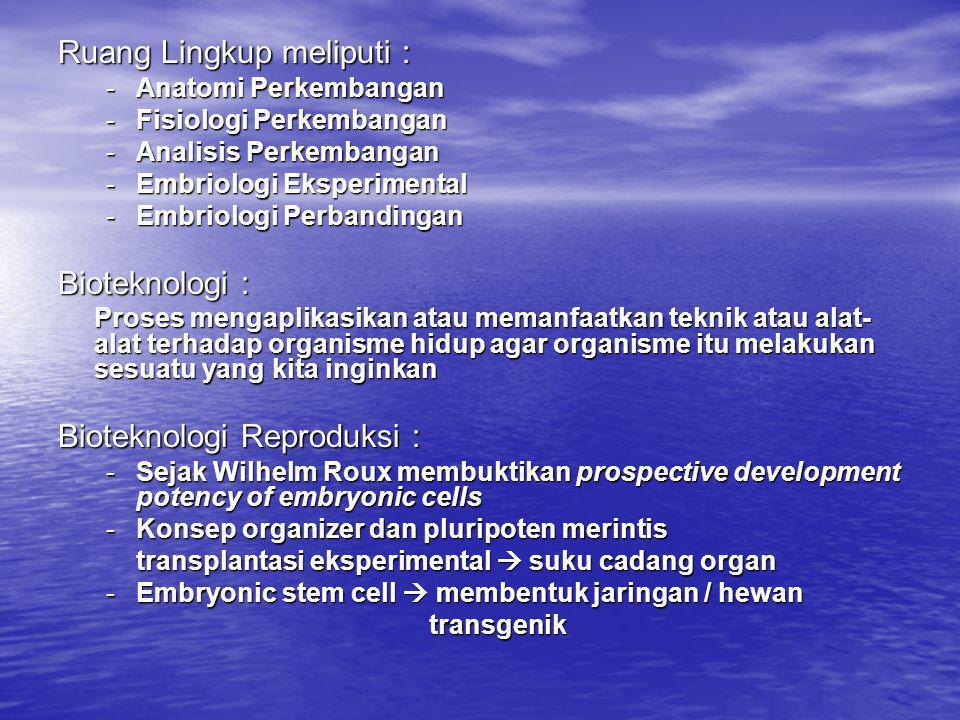 Elemen dasar : Elemen dasar : - Sel kelamin - Potensi prospektif • Pemasyarakatan bioteknologi reproduksi di Indonesia masih dalam tahap awal sesuai koordinasi Konsepsi Bioteknologi di Indonesia • Manipulasi mudigah mulai dikembangkan di dunia