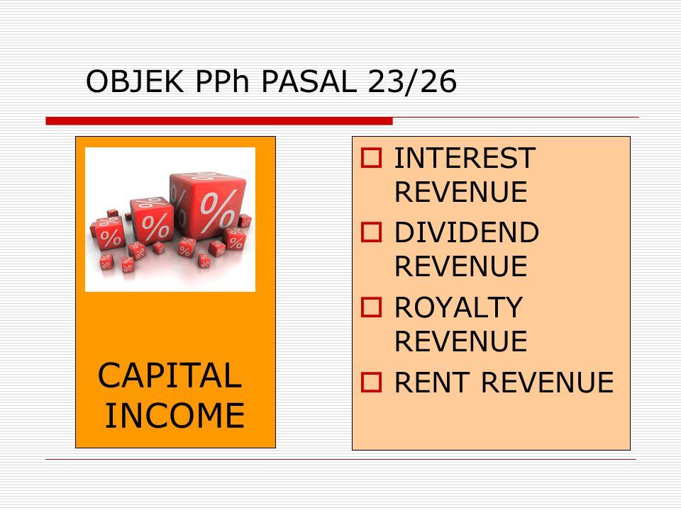  INTEREST REVENUE  DIVIDEND REVENUE  ROYALTY REVENUE  RENT REVENUE CAPITAL INCOME OBJEK PPh PASAL 23/26