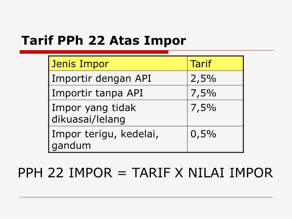 Tarif PPh 22 Atas Impor Jenis ImporTarif Importir dengan API2,5% Importir tanpa API7,5% Impor yang tidak dikuasai/lelang 7,5% Impor terigu, kedelai, gandum 0,5% PPH 22 IMPOR = TARIF X NILAI IMPOR
