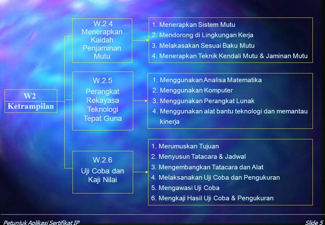 Petunjuk Aplikasi Sertifikat IPSlide 5 W2 Ketrampilan W.2.4 Menerapkan Kaidah Penjaminan Mutu W.2.5 Perangkat Rekayasa Teknologi Tepat Guna W.2.6 Uji Coba dan Kaji Nilai 1.
