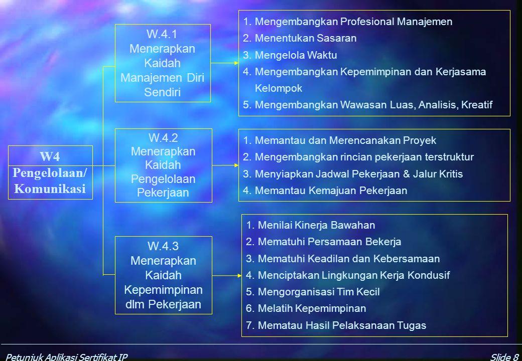 Petunjuk Aplikasi Sertifikat IPSlide 18 P10 Manajemen Usaha dan Pemasaran Teknik P.10.1 Mengelola sumber-daya keinsinyuran 1.Tujuan dan prioritas kerja.