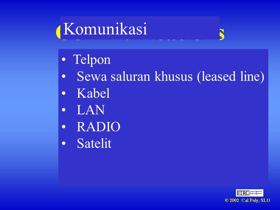 Komunikasi • Telpon • Sewa saluran khusus (leased line) • Kabel • LAN • RADIO • Satelit