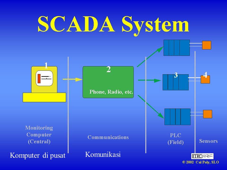 Variasi SCADA • Monitoring saja • Monitorin plus manual pengendlian terpusat • Monitoring plus otomatisasi lokal • Otomatisasi terpusat??.