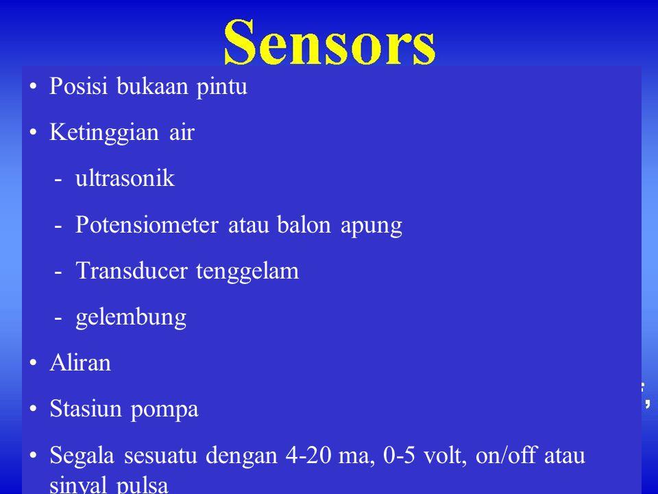 •Posisi bukaan pintu •Ketinggian air - ultrasonik - Potensiometer atau balon apung - Transducer tenggelam - gelembung •Aliran •Stasiun pompa •Segala s