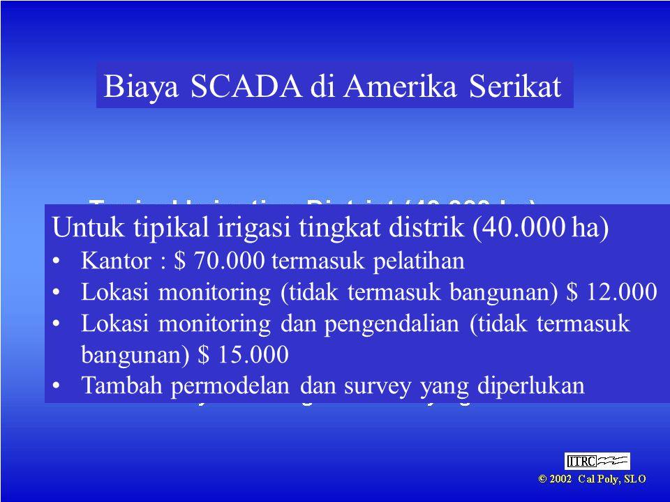 Biaya SCADA di Amerika Serikat Untuk tipikal irigasi tingkat distrik (40.000 ha) •Kantor : $ 70.000 termasuk pelatihan •Lokasi monitoring (tidak terma