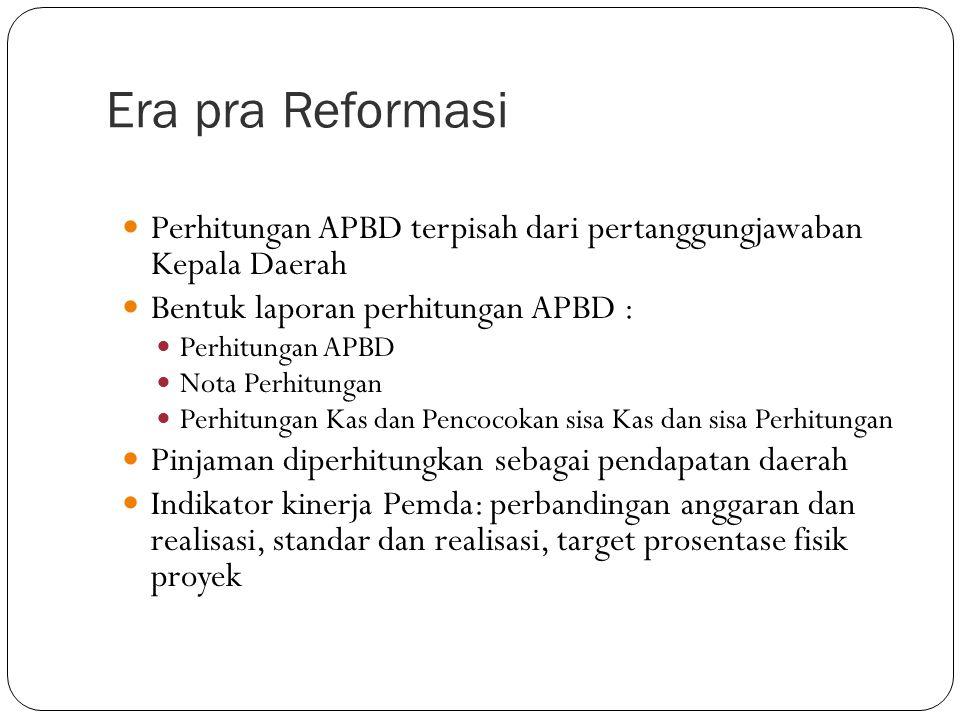 Era pra Reformasi  UU 5/75  Pengurusan, Pertanggungjawaban dan Pengawasan Keuangan Daerah  PP 6/75  Penyusunan APBD, Pelaksanaan Tata Usaha Keuangan Daerah dan Penyusunan Perhitungan APBD.