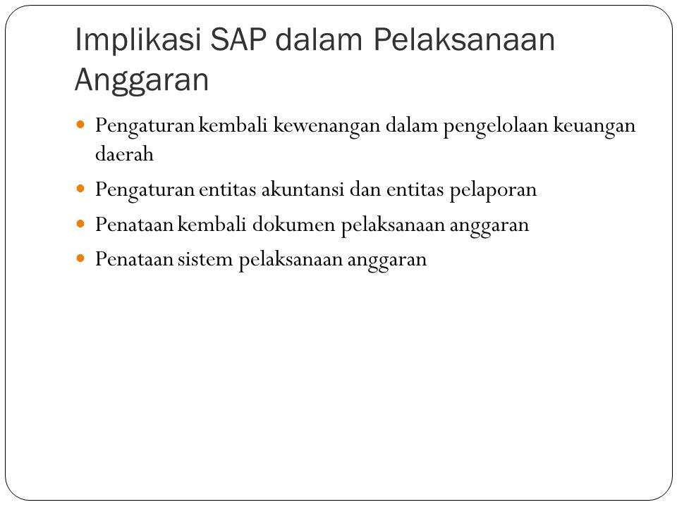 Implikasi SAP dalam Perencanaan dan Penganggaran  Struktur Anggaran (I account), yang terdiri dari Anggaran Pendapatan, Anggaran Belanja, dan Anggaran Pembiayaan  Klasifikasi Anggaran: Organisasi, Fungsi, Ekonomi  Basis Anggaran: Basis Kas