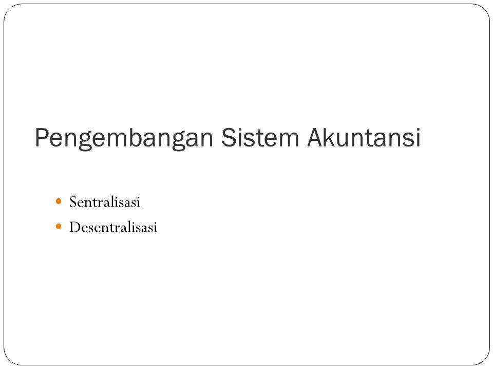 Pengembangan Sistem  Sistem akuntansi berbasis komputer  Sistem akuntansi yang dikembangkan secara manual