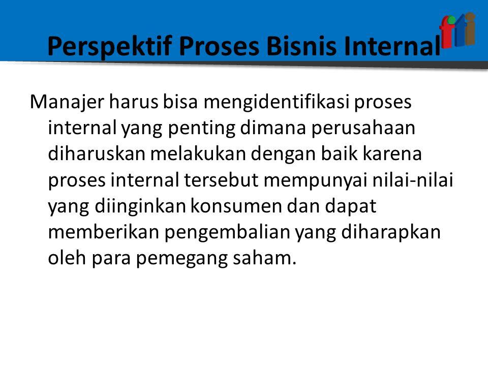 Perspektif Proses Bisnis Internal Manajer harus bisa mengidentifikasi proses internal yang penting dimana perusahaan diharuskan melakukan dengan baik