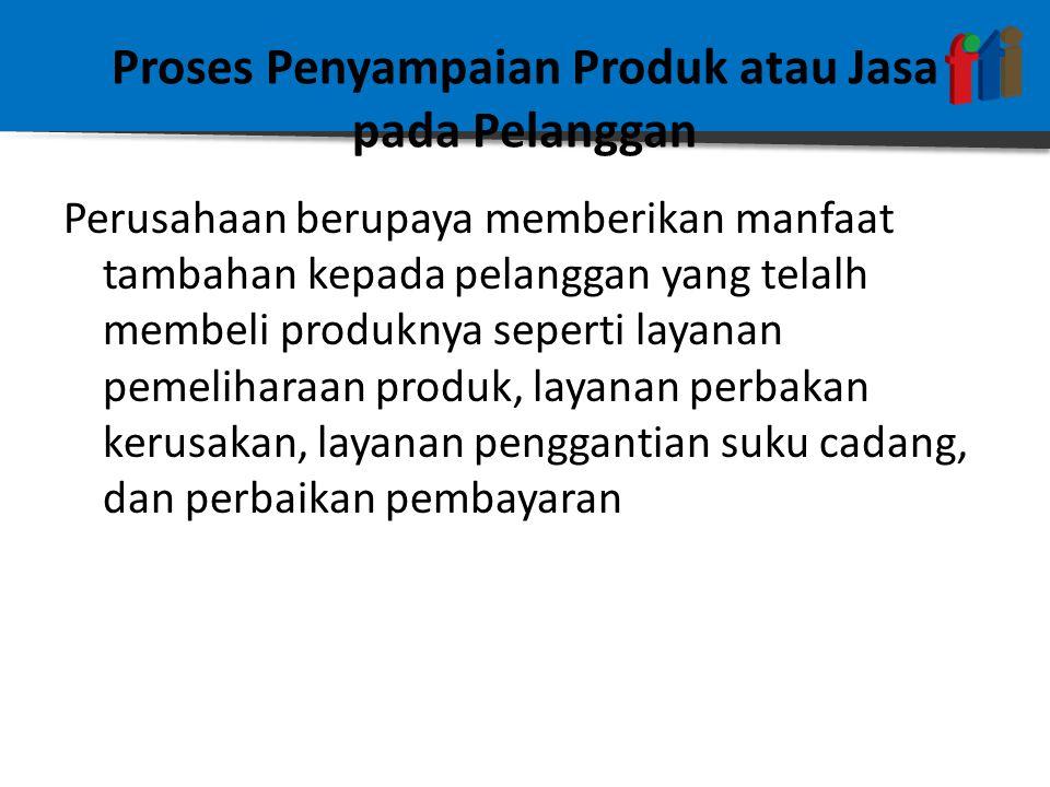 Proses Penyampaian Produk atau Jasa pada Pelanggan Perusahaan berupaya memberikan manfaat tambahan kepada pelanggan yang telalh membeli produknya seperti layanan pemeliharaan produk, layanan perbakan kerusakan, layanan penggantian suku cadang, dan perbaikan pembayaran