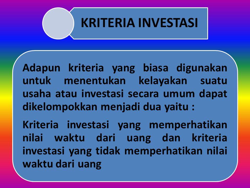 MATERI MATRIKULASI MANAJEMEN KEUANGAN Analisis Kriteria Investasi Drs. Chairul Anam,SE