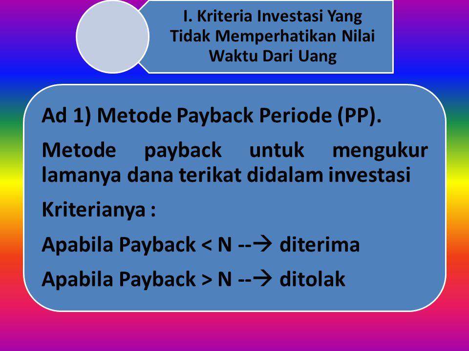II. Kriteria Investasi Yang Memperhatikan Nilai Waktu Dari Uang 1. Present Value (PV)2. Net Present Value (NPV)3. Internal Rate of Return (IRR)4. Prof