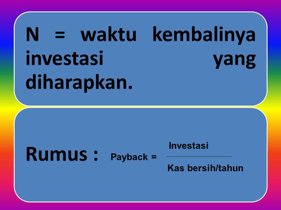 I. Kriteria Investasi Yang Tidak Memperhatikan Nilai Waktu Dari Uang Ad 1) Metode Payback Periode (PP). Metode payback untuk mengukur lamanya dana ter