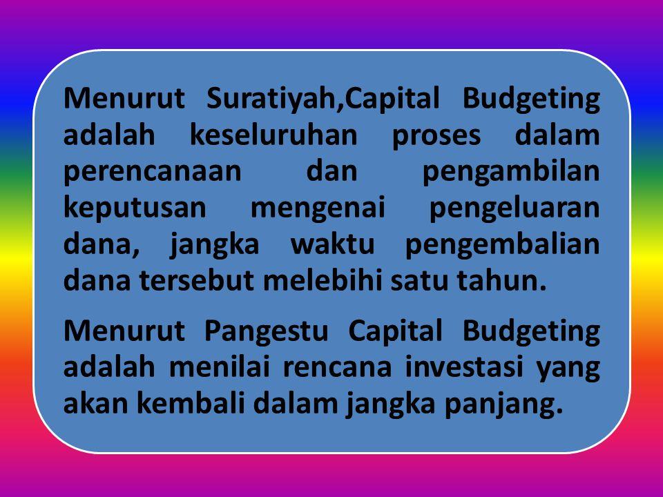 PENGERTIAN Menurut Van Horne, Penganggaran modal (capital budgeting) merupakan proses mengidentifikasi, menganalisa dan menyeleksi kegiatan-kegiatan i