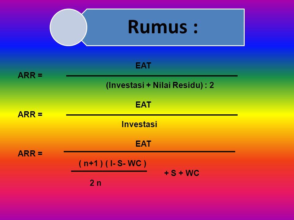 Ad 2) Average Rate of Return (ARR) Average Rate of Return (ARR) merupakan perbandingan antara Net Income (EAT) terhadap rata-rata investasi bisnis yan