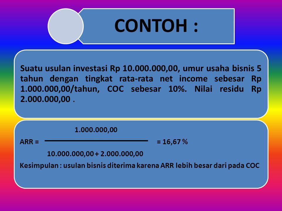 Keterangan COC= Cost of capital = biaya modal S= Salvage value = nilai residu/sisa WC= Working capital = modal kerja n= Periode waktu EAT= Earning Aft