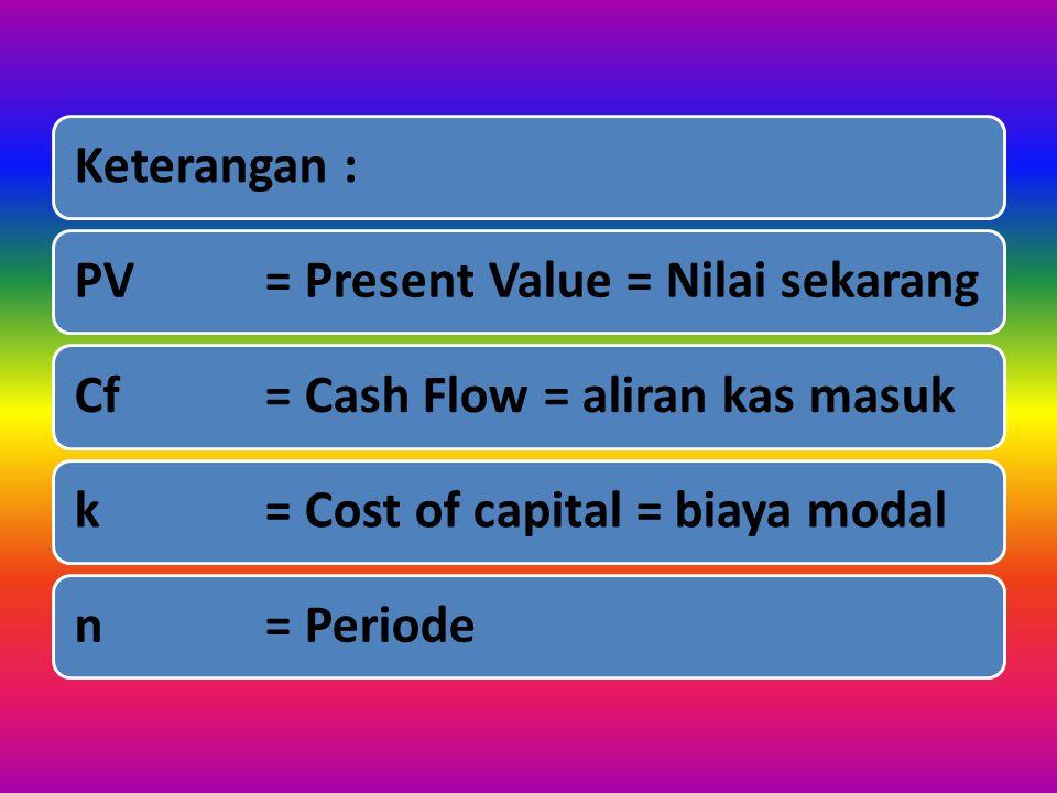 Kriteria : ApabilaPV > Investasi  Diterima Apabila PV < Investasi  Ditolak RUMUS :