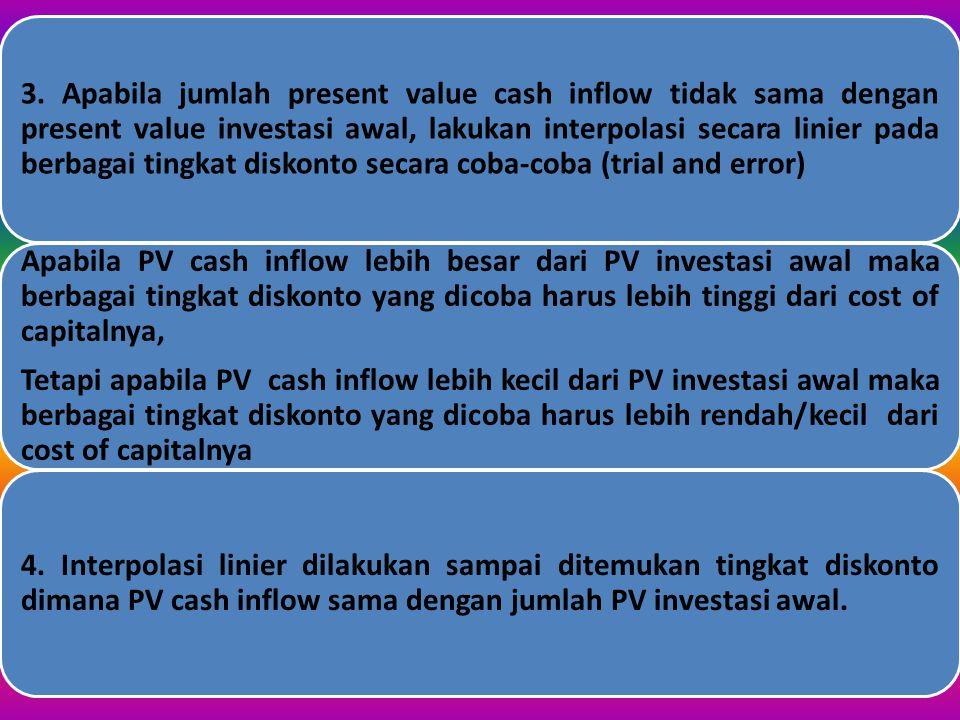 LANGKAH-LANGKAH PENYELESAIAN 1. Hitung present value dari pada cash inflow yang diharapkan yaitu cash inflow kali present value faktornya untuk tingka