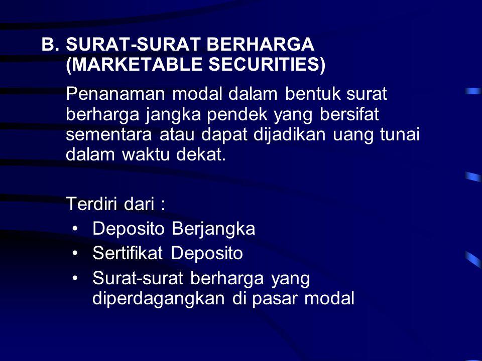 B.SURAT-SURAT BERHARGA (MARKETABLE SECURITIES) Penanaman modal dalam bentuk surat berharga jangka pendek yang bersifat sementara atau dapat dijadikan