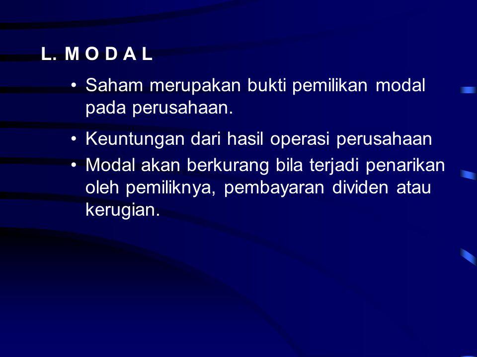 L.M O D A L •Saham merupakan bukti pemilikan modal pada perusahaan. •Keuntungan dari hasil operasi perusahaan •Modal akan berkurang bila terjadi penar