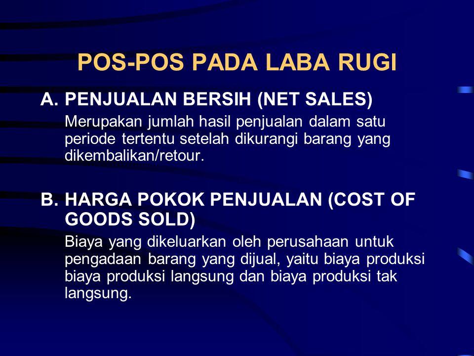 POS-POS PADA LABA RUGI A.PENJUALAN BERSIH (NET SALES) Merupakan jumlah hasil penjualan dalam satu periode tertentu setelah dikurangi barang yang dikem