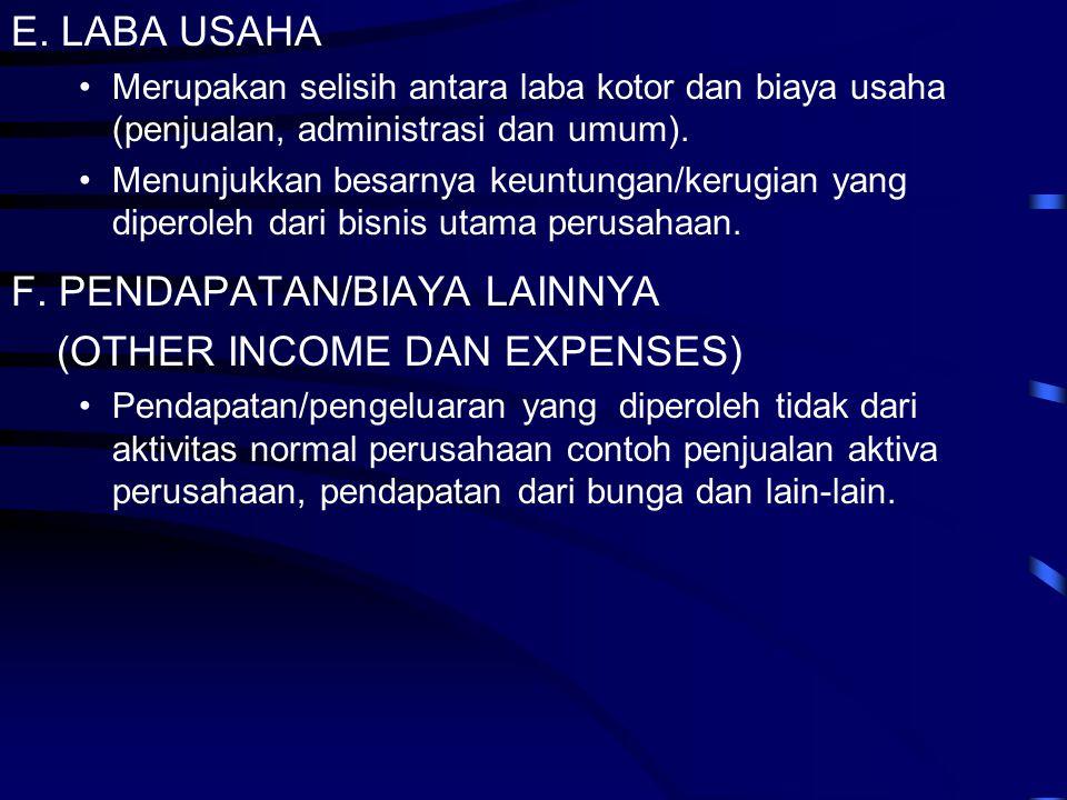 E. LABA USAHA •Merupakan selisih antara laba kotor dan biaya usaha (penjualan, administrasi dan umum). •Menunjukkan besarnya keuntungan/kerugian yang