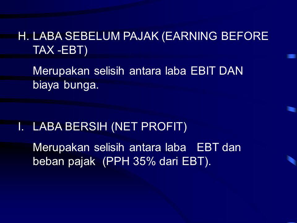 H.LABA SEBELUM PAJAK (EARNING BEFORE TAX -EBT) Merupakan selisih antara laba EBIT DAN biaya bunga. I.LABA BERSIH (NET PROFIT) Merupakan selisih antara