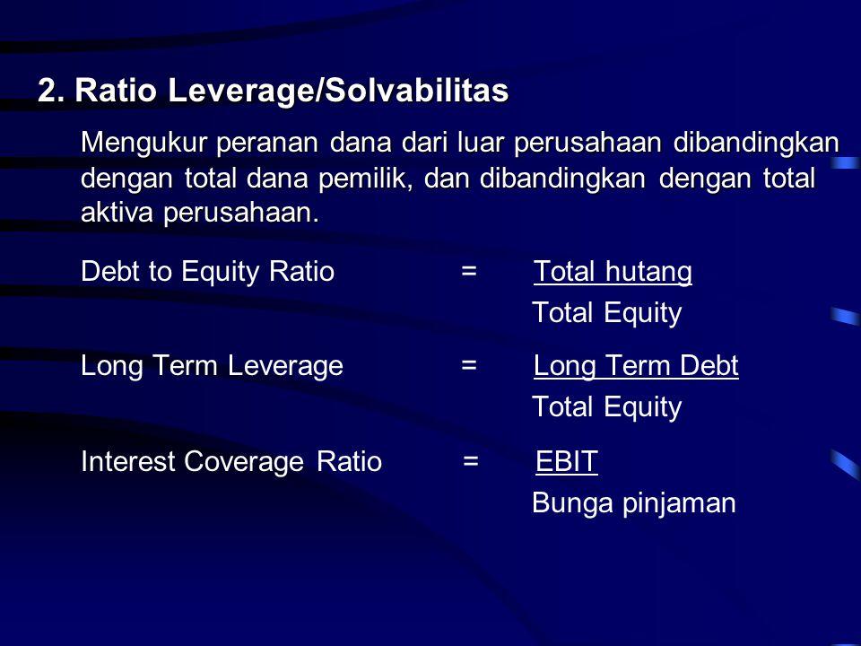 2. Ratio Leverage/Solvabilitas Mengukur peranan dana dari luar perusahaan dibandingkan dengan total dana pemilik, dan dibandingkan dengan total aktiva