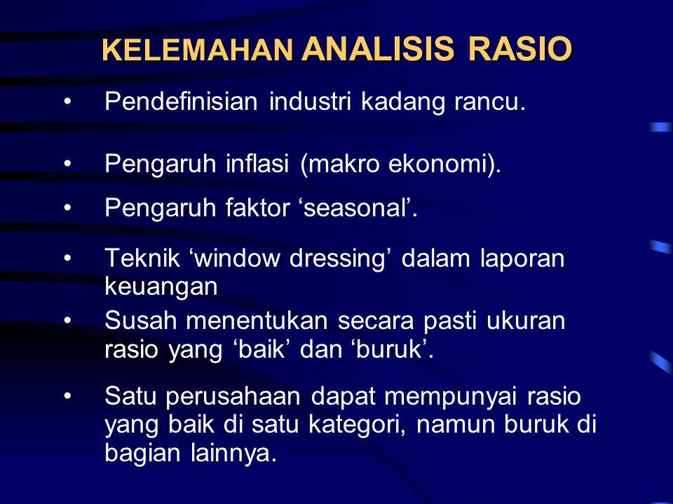KELEMAHAN ANALISIS RASIO •Pendefinisian industri kadang rancu. •Pengaruh inflasi (makro ekonomi). •Pengaruh faktor 'seasonal'. •Teknik 'window dressin