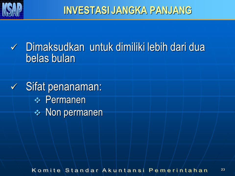 2323 INVESTASI JANGKA PANJANG  Dimaksudkan untuk dimiliki lebih dari dua belas bulan  Sifat penanaman:  Permanen  Non permanen