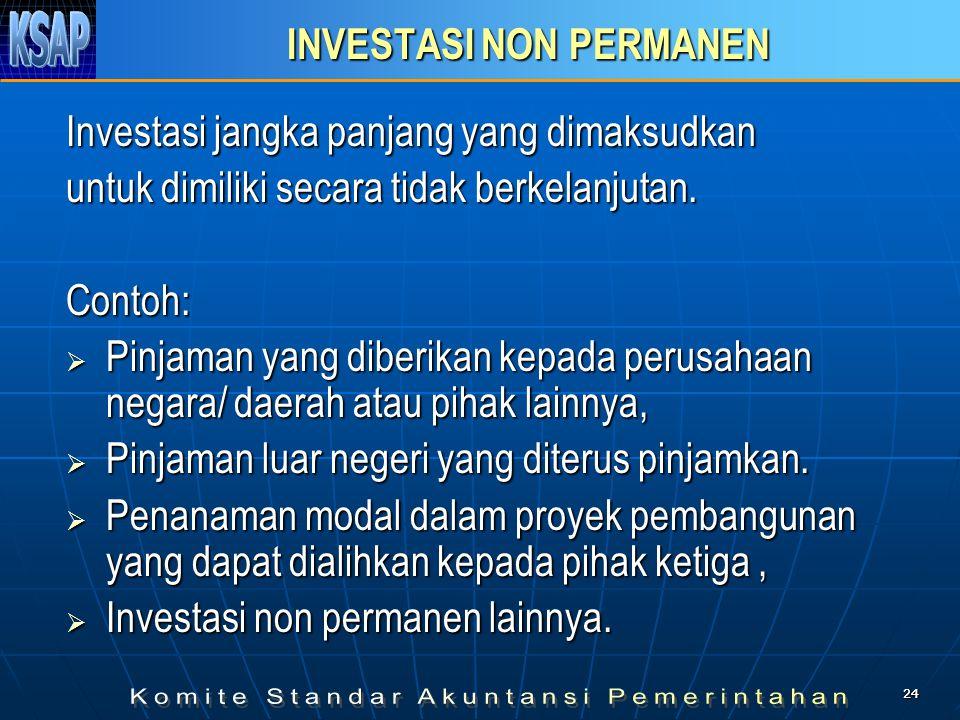 2424 INVESTASI NON PERMANEN Investasi jangka panjang yang dimaksudkan untuk dimiliki secara tidak berkelanjutan. Contoh:  Pinjaman yang diberikan kep