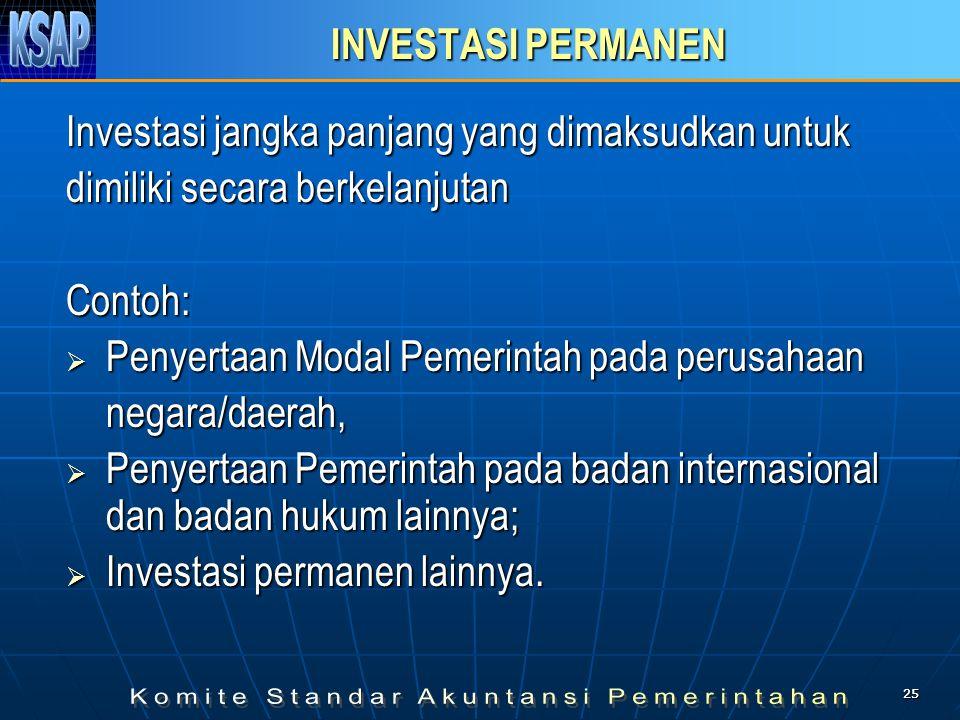 2525 INVESTASI PERMANEN Investasi jangka panjang yang dimaksudkan untuk dimiliki secara berkelanjutan Contoh:  Penyertaan Modal Pemerintah pada perus