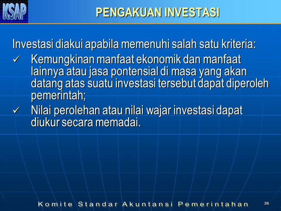 2626 PENGAKUAN INVESTASI Investasi diakui apabila memenuhi salah satu kriteria:  Kemungkinan manfaat ekonomik dan manfaat lainnya atau jasa pontensia