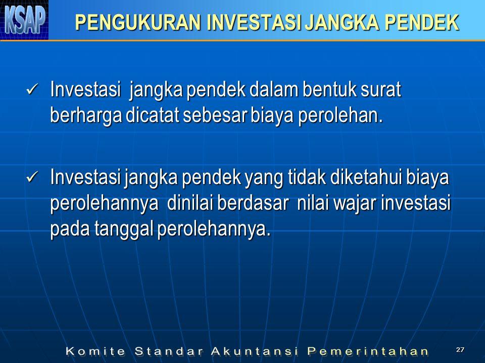 2727 PENGUKURAN INVESTASI JANGKA PENDEK  Investasi jangka pendek dalam bentuk surat berharga dicatat sebesar biaya perolehan.  Investasi jangka pend