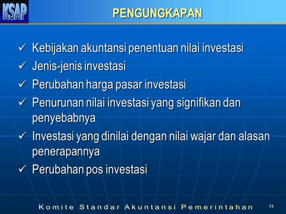 3131 PENGUNGKAPAN  Kebijakan akuntansi penentuan nilai investasi  Jenis-jenis investasi  Perubahan harga pasar investasi  Penurunan nilai investas