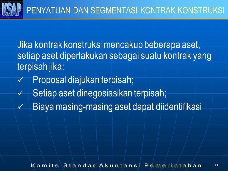 4444 PENYATUAN DAN SEGMENTASI KONTRAK KONSTRUKSI Jika kontrak konstruksi mencakup beberapa aset, setiap aset diperlakukan sebagai suatu kontrak yang t