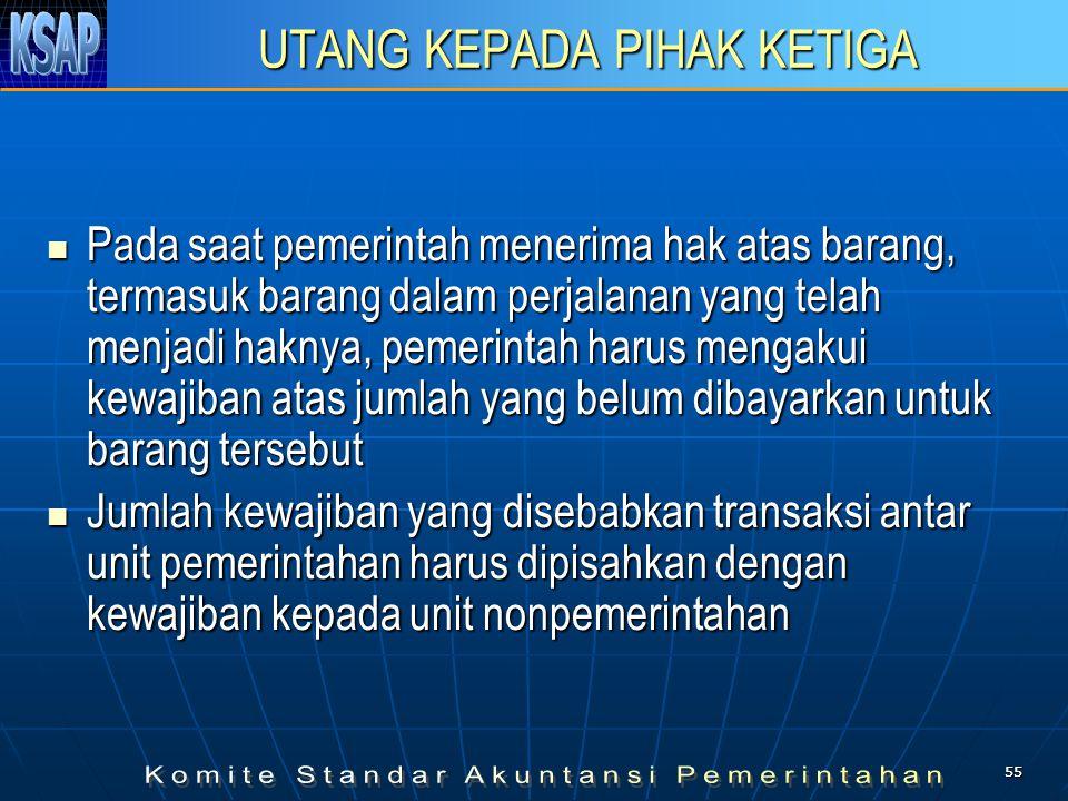 5555 UTANG KEPADA PIHAK KETIGA  Pada saat pemerintah menerima hak atas barang, termasuk barang dalam perjalanan yang telah menjadi haknya, pemerintah