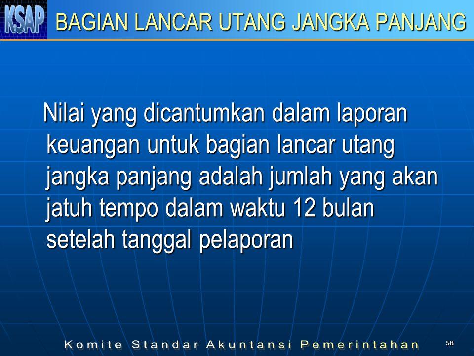 5858 BAGIAN LANCAR UTANG JANGKA PANJANG Nilai yang dicantumkan dalam laporan keuangan untuk bagian lancar utang jangka panjang adalah jumlah yang akan