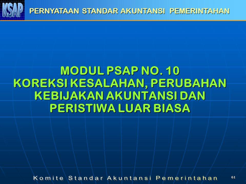 6161 MODUL PSAP NO. 10 KOREKSI KESALAHAN, PERUBAHAN KEBIJAKAN AKUNTANSI DAN PERISTIWA LUAR BIASA PERNYATAAN STANDAR AKUNTANSI PEMERINTAHAN