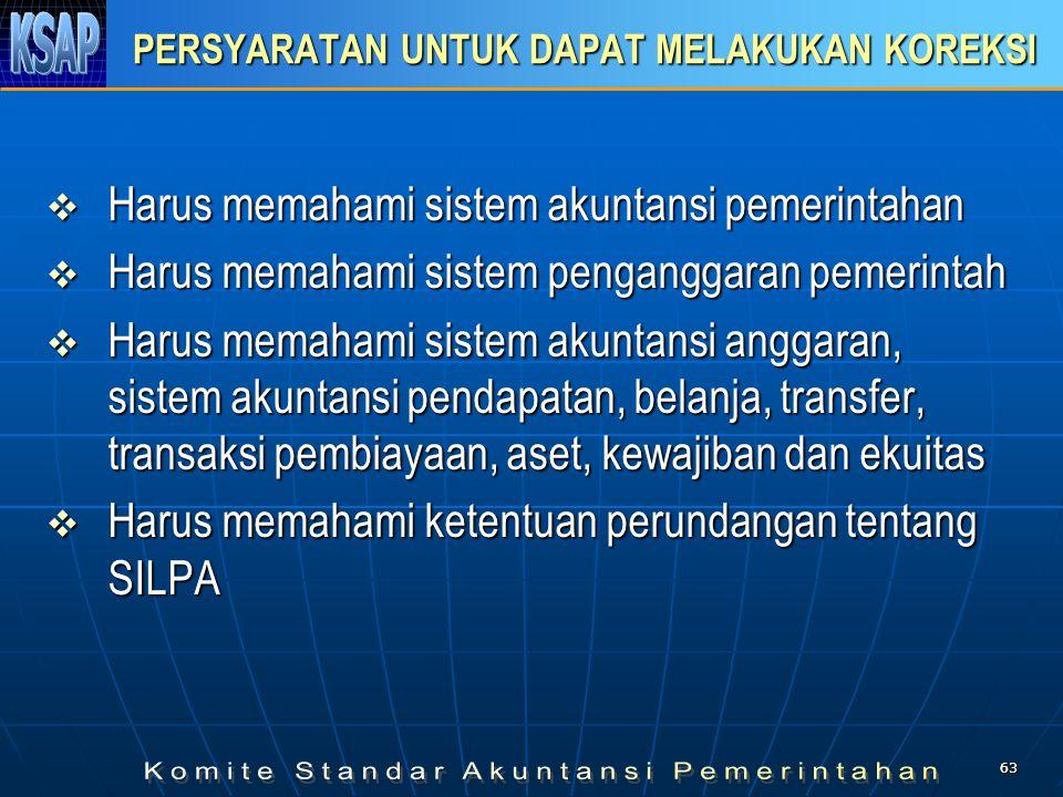 6363 PERSYARATAN UNTUK DAPAT MELAKUKAN KOREKSI  Harus memahami sistem akuntansi pemerintahan  Harus memahami sistem penganggaran pemerintah  Harus